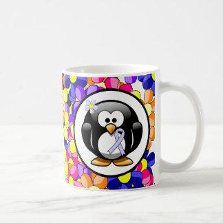 Periwinkle Ribbon Penguin Classic White Coffee Mug