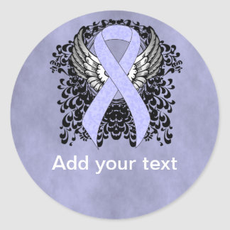 Periwinkle Ribbon with Wings Classic Round Sticker