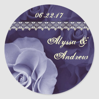 PERIWINKLE Rose Bride & Groom Wedding Sticker