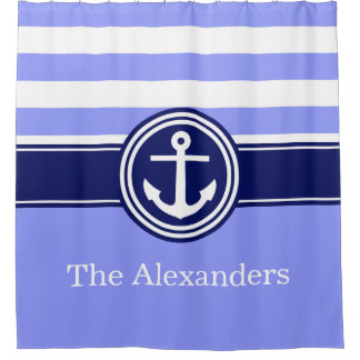 Periwinkle Rugby Stripe Anchor CB Monogram Navy Shower Curtain