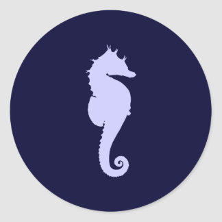 Periwinkle Sea Horse Classic Round Sticker