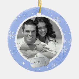 Periwinkle Snowflakes and Dog Tags Photo Round Ceramic Decoration