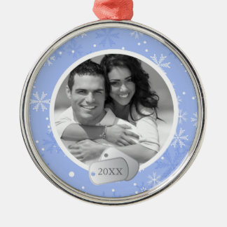 Periwinkle Snowflakes and Dog Tags Photo Silver-Colored Round Decoration