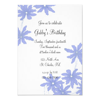 Periwnkle Blue Daisies Birthday Party Invitation