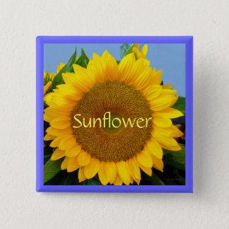 Perky Yellow Sunflower 15 Cm Square Badge