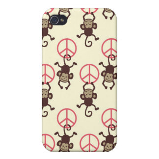 Pern Pink Peace Signs Monkeys Case For iPhone 4