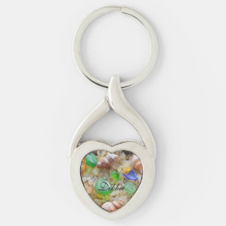 Peronalized Name Key Chains Seaglass Beach Silver-Colored Twisted Heart Key Ring
