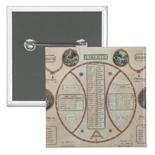 Perpetual Republican Calendar, June 1801 Pins