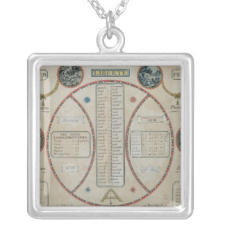 Perpetual Republican Calendar, June 1801 Silver Plated Necklace