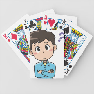 Perplexed Boy Bicycle Playing Cards