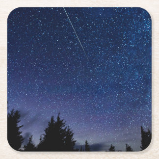 Perseid Meteor Shower Square Paper Coaster