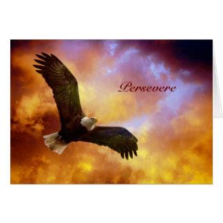 Persevere-Eagle In Firey Clouds Card