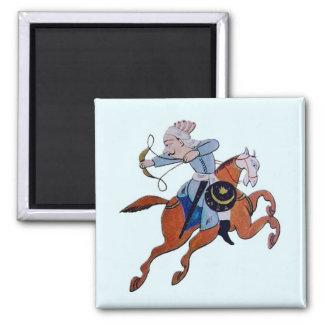 Persian archer on horseback square magnet