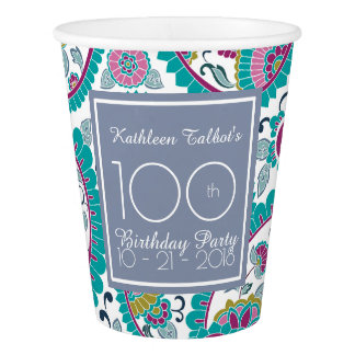 Persian Boteh Paisley 100th Birthday Party Paper C Paper Cup