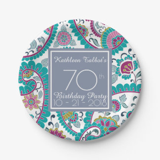 Persian Boteh Paisley 70th Birthday Party Paper P Paper Plate