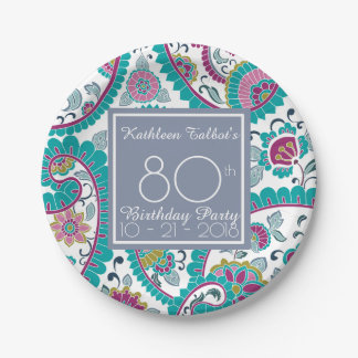 Persian Boteh Paisley 80th Birthday Party Paper P Paper Plate