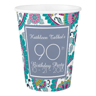 Persian Boteh Paisley 90th Birthday Party Paper C Paper Cup