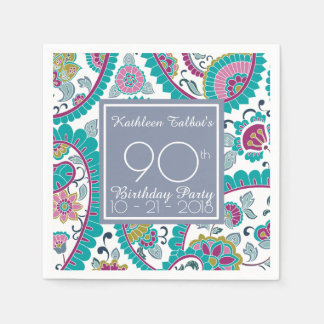 Persian Boteh Paisley 90th Birthday Party Paper N Paper Napkin