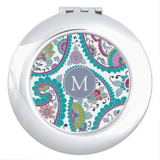 Persian Boteh Paisley Pattern Monogram Compact M Vanity Mirror