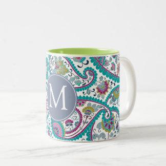 Persian Boteh Paisley Pattern Monogram Mug