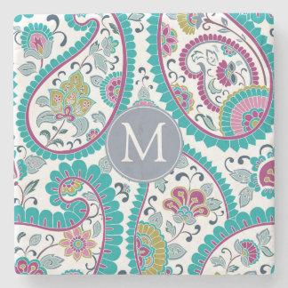 Persian Boteh Paisley Pattern Monogram Stone C Stone Coaster