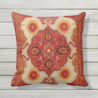 Persian carpet look in copper color outdoor cushion