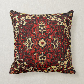 Persian carpet look in dark red and cream cushion