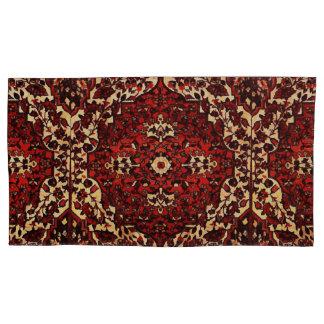 Persian carpet look in dark red and cream pillowcase