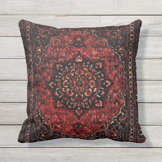 Persian carpet look in rose tinted field outdoor cushion