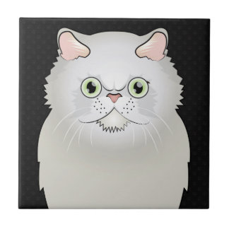Persian Cat Cartoon (White, Flat-Face) Tile