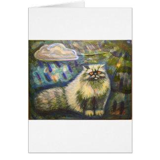 Persian cat in the Rain Card