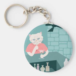 Persian Cat Martini Bar Basic Round Button Key Ring
