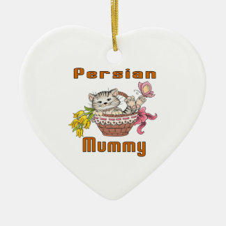 Persian Cat Mom Ceramic Heart Decoration