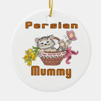 Persian Cat Mom Round Ceramic Decoration