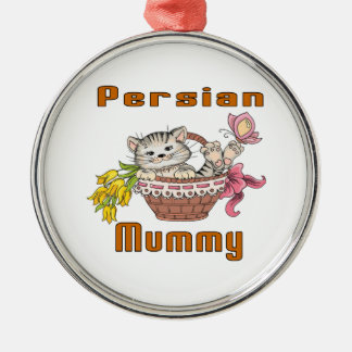 Persian Cat Mom Silver-Colored Round Decoration
