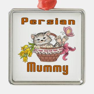 Persian Cat Mom Silver-Colored Square Decoration