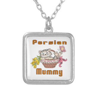 Persian Cat Mom Silver Plated Necklace
