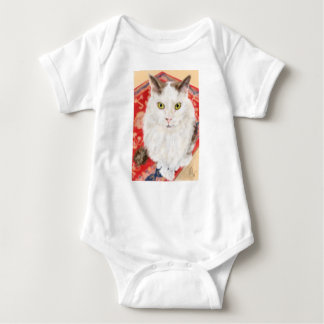 Persian cat on a red Persian carpet Baby Bodysuit