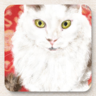 Persian cat on a red Persian carpet Coaster