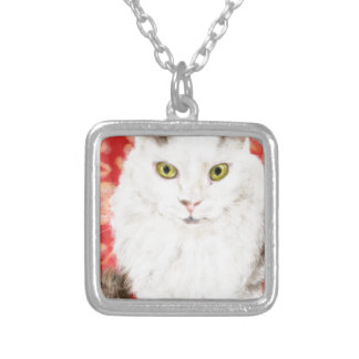 Persian cat on a red Persian carpet Silver Plated Necklace