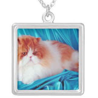 Persian cat silver plated necklace