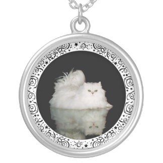 Persian Cat with Jade Green Eyes Silver Plated Necklace