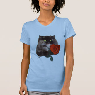 Persian Cat with Red Rose T Shirt