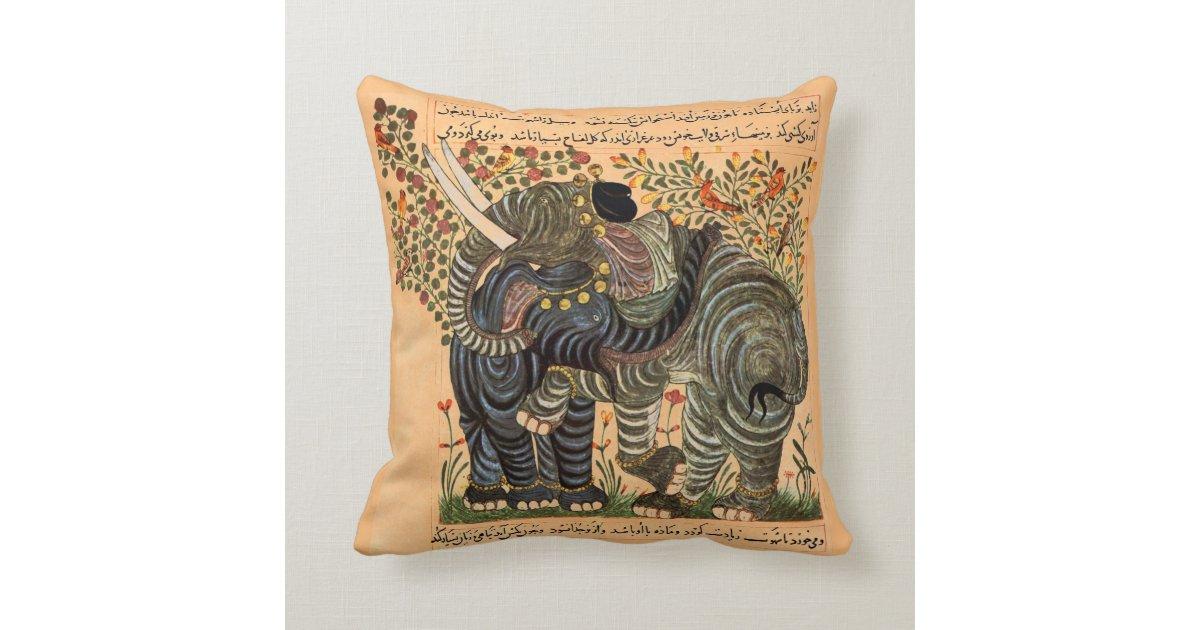 Persian Elephants pillow Throw Cushion Zazzle