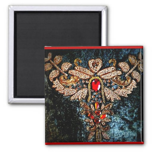 PERSIAN JEWELED EMBROIDERED PILLOW DESIGN MAGNETS
