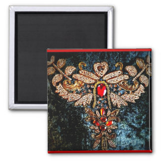 PERSIAN JEWELED EMBROIDERED PILLOW DESIGN SQUARE MAGNET