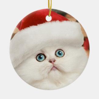 Persian Kitten Christmas Ornament (Round)