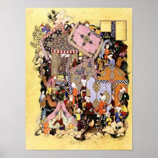 Persian Miniature: Majnun Approaches Layla Caravan Poster