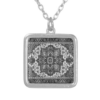 PERSIAN RUG - Black & White Silver Plated Necklace