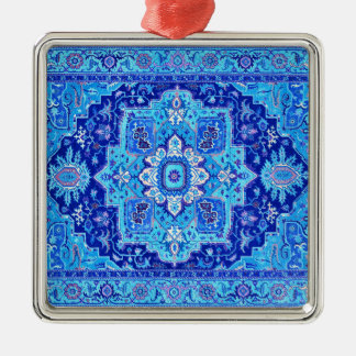 PERSIAN RUG - Blue Silver-Colored Square Decoration